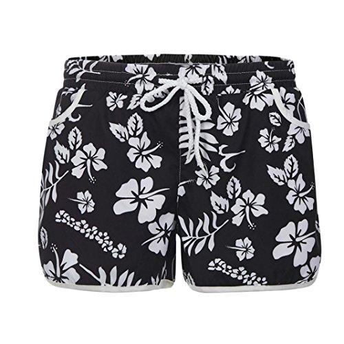 ESAILQ Shorts Women Summer Floral Beach Short with Drawstring Workout Yoga Hot