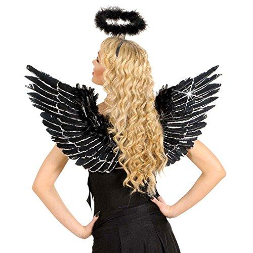 Engelsflügel Schwarze Flügel 86x42 cm Glitzer Federflügel Angel Wings Engel Flügel Halloween Kostüm (Halloween Kostüme Angel)