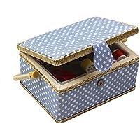 D & D de costura cesta organizador con accesorios, hogar caja de costura Kit de costura básicos para hogar y viaje, color azul lunares coser kits regalo