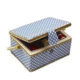 D&D, scatola da cucito con kit da cucito con accessori, cestino organizer in legno con accessori per la casa e per i viaggi, color blu a pois, grande medium Blue