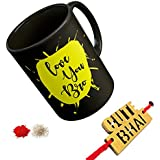 Thirsty Guys Gift For Rakshabandhan | Rakhi Gift For Sister And Brother | Rakhi Gift For Brother | Gift For Sister | Rakhi Gift | Rakshabandhan Gift Ideas | Online Rakhi Gifts |printed Coffee Mug, Wooden Rakhi, Roli, Chawal (Rakhi- Cute Bhai)