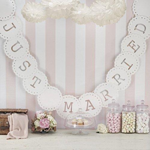 Ginger Ray Hochzeit oder Party Dekoration Banner Just Married Wimpelkette, elfenbeinfarben
