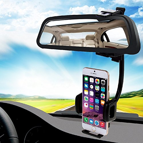 LBSJWPhone Stand, ajustable soporte del teléfono m Soporte universal for espejo retrovisor 2 en 1 for automóvil, ajustable, soporte for teléfono móvil, tamaño de abrazadera: 40 mm-80 mm, for iPhone, G