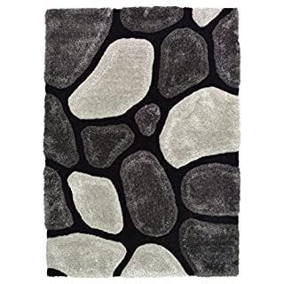AHOC EXTRA LARGE BLACK & GREY THICK SOFT SUMPTUOUS 3D DEEP TEXTURED SHAG PILE PEBBLE STEPPING STONES SHAGGY RUG (GREY, 150x230cm (5x8'))