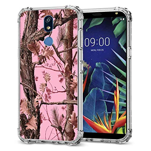 für LG K40 Camo Hülle, LG K12 Plus Camo Case, BAYKE Slim Flexible TPU Bumper Kissen Schutzhülle mit verstärkten Ecken für LG K40, LG K12+, LG K12 Plus, LG X4 (2019), Pink Camo Hunter Camouflage Forest