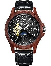 SEWOR reloj para hombre Tourbillon automático grano de madera caso fase de la luna negro Dial mecánico reloj de pulsera de piel