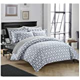 """Linenwalas 100% Organic Cotton Geometric Design Queen Size Duvet Cover With 1 Pillow Cover - Grey & White- 60""""x 90"""" - (Set Of 2)"""