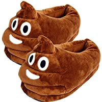 Emoji Poo Womens Slippers Winter Warm Unisex Plush Soft Indoor House Non Slip Slippers Home Shoes for Women Girls Adults Size 3 4 5 6 7 8 Brown