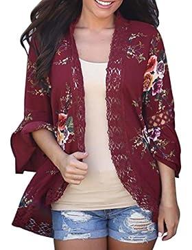 Cinnamou Cardigans de encaje de mujer, Abrigo informal con capa abierta de estampado floral Blusa suelta kimono...