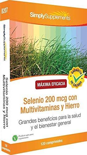 Sélénium 200mcg avec Multivitamines et Fer | Favorise la santé des cheveux, de la peau et des ongles | 120 Comprimés | Simply Supplements