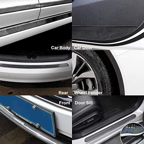 Wefond 4 Piezas Etiqueta engomada Auto del Protector del topet/ón de la Puerta del Coche de la Fibra de Carbono Negra para la camioneta Pickup de SUV del Coche