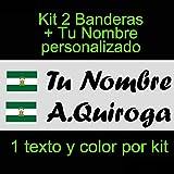 Vinilin - Pegatina Vinilo Bandera Andalucia + tu Nombre - Bici, Casco, Pala De Padel, Monopatin, Coche, etc. Kit de Dos Vinilos (Negro)
