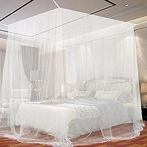 Moskitonetz, opamoo Fliegennetz Mückennetz Feinmaschiges Moskitonetz Großes Moskitonetz Quadratische Moskitonetze für Doppelbett und Einzel Bett Fliegennetz Mückennetz - 190 x 220 x 210cm, Weiß