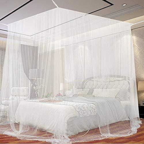 Moskitonetz, opamoo Fliegennetz Mückennetz Feinmaschiges Moskitonetz Großes Moskitonetz Quadratische Moskitonetze für Doppelbett und Einzel Bett Fliegennetz Mückennetz - 190 x 220 x 210cm, Weiß - Baldachin Möbel Schlafzimmer