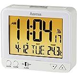 Hama Funk Wecker RC550 (sensorgesteuerte Nachtlichtfunktion, Schlummerfunktion, Temperatur- und Datumsanzeige) weiß