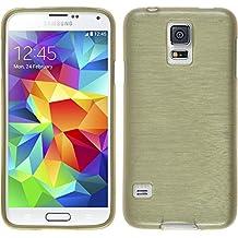 Funda de silicona para Samsung Galaxy S5 Neo - brushed oro - Cover PhoneNatic Cubierta + protector de pantalla