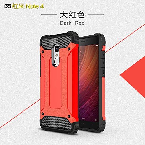 Fundas Xiaomi Redmi Note 4/Note 4X,XINYUNEW TPU+PC [Regalo Cristal Vidrio Templado] Premium Armadura Híbrido caja de la armadura para el teléfono Silicona Carcasa Case Funda para Xiaomi Redmi Note 4/Note 4X Rojo