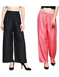 Eldino Rayon Black And Light Peach Plazo Pant Indian Ethnic Plain Casual Wear Plazo Pant For Women's And Girls