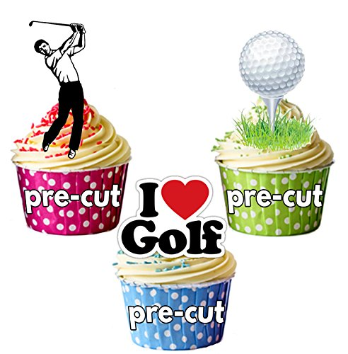 PARTY PACK - 36 X Golf Golfing Tee Ball Buggy Mix EDIBLE WAFER CAKE TOPPERS STAND UP STANDUPS Boy's Birthday by AKGifts