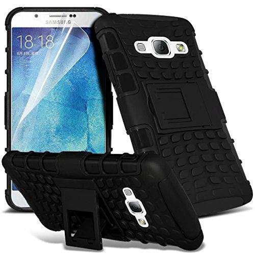 Black - Samsung Galaxy J5 SM-J500F Zweischichtige starke, stoßfeste Hülle in Superqualität mit versenkbarem Eingabestift für Samsung (stoßfest – Hülle – hart – Schutz – robust) von Gadget Giant®
