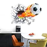 WONZOM 3D Through Wall Football Decal Wall Sticker Removable Cartoon Sport Football Home Decor Mual Art Poster