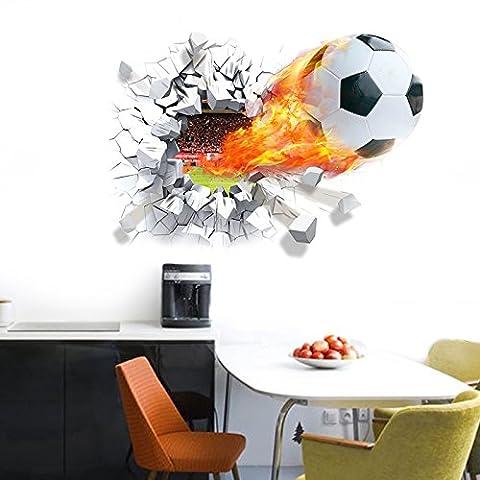 Wonzom Autocollant mural décoratif amovible pour la maison Motif football en 3D