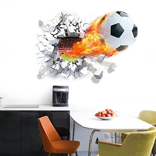 Wonzom-Autocollant-mural-dcoratif-amovible-pour-la-maison-Motif-football-en-3D