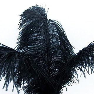 Kolight 100pcs plumes d'autruche Noir 30,5- 35,6cm plumes naturelles pour mariage, fête, maison, décoration de poils