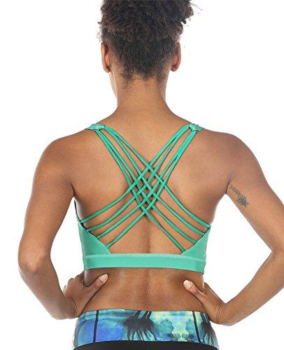 icyzone Damen Sport BH Kreuz Rücken Bustier Yoga Kleidung Jogging Fitness Übung Racerback Workout BH Top (XXL, Florida Keys)
