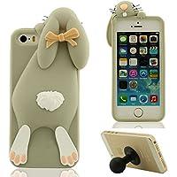3D Hübsch Mode Hase Aussehen Weich Silikon Gel iPhone 5 5C Hülle ( Grau ) HandyHülle Handy Tasche, Apple iPhone 5S SE Case, Karikatur Tier Stil Cover Anti-Shock + Silikon Halter