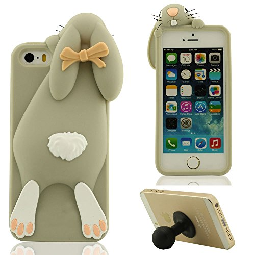 3D Hübsch Mode Hase Aussehen Weich Silikon Gel iPhone 5 5C Hülle HandyHülle Handy Tasche, Apple iPhone 5S SE Case, Karikatur Tier Stil Cover Anti-Shock + Silikon Halter - Braun Grau
