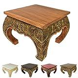 Opiumtisch Beistelltisch Couchtisch 50 x 50cm Thailand Tisch Holz Hellbraun Antik