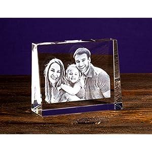 Isonio Glasfoto – Ihr eigenes Foto in Viamant Glas gelasert – Foto im Kristallglas als Fotogeschenk (Größe S Hochformat 60 x 80 x 25mm)
