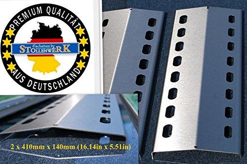 Manufaktur Stollenwerk 2 x 410mm x 140mm Edelstahl Flammenverteiler/Flammenabdeckung/Grillblech – super Ersatzteil für viele verschiedene Gasgrills (2-410-140-1)