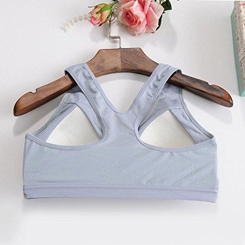 BZLine - Femme Soutien-gorge de Yoga - en Coton mélangé - à Mesh Respirant Gris