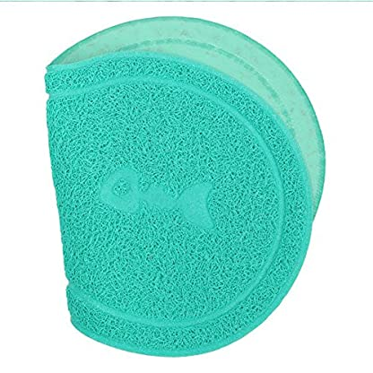 Cuteco Pet Food PVC Mat Waterproof Non-slip Pet Feeding Mat Pet Bowl Mat, Pet Feeding Tray For Cats and Dogs (blue) 5