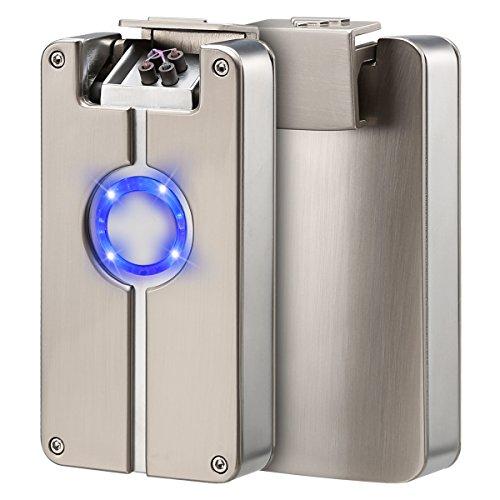 Preisvergleich Produktbild USB elektronisches Feuerzeug Dual Lichtbogen Sturmfeuerzeug Zigarettenanzünder ohne Flamme Aufladbar umweltfreundlich Winddicht von QIMAOO Silber