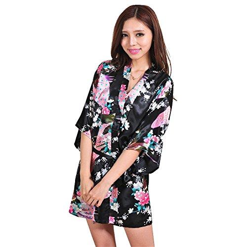 Honeystore Damen Morgenmantel glatte Satin Nachtwäsche Bademantel mit Peacock und Blume Kimono Negligee Seidenrobe Schlafanzug Schwarz S (Satin-robe Gesteppte)
