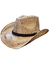 NATURAL STRAW VINTAGE LOOK COWBOY HAT 57CM-59CM