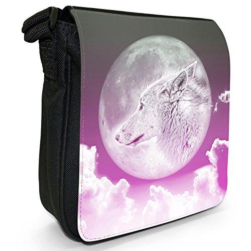 Luna lupo piccolo nero Tela Borsa a tracolla, taglia S Moonlight Wolf - Pink