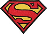 Superman Classic schwarz Bordüre bestickt abzeichen Patch Aufnäher oder 12,75cm Bügelbild