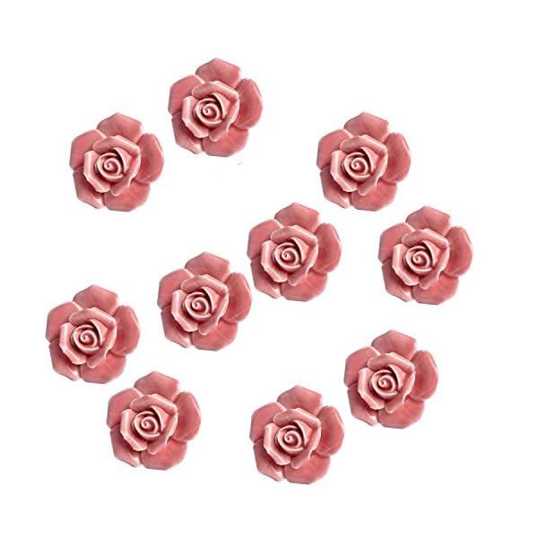 Tornillo Manija de muebles perilla ornamento elegante rosa rosa Tira de flor de cer/ámica Perillas de gabinete Armario Caj/ón Manijas de tracci/ón 8 piezas Manijas Perillas