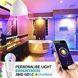 Smart Alexa Lampe, Wifi LED Glühbirne Hergestellt aus Aluminiumlegierung, E27, 7W, 650LM steuerbar via App auf IOS&Android, mehrfarbige und Helligkeits Kontrolle, Kompatibel mit Alexa &Google Home - 3