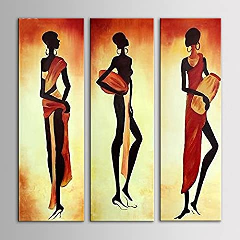 IPLST@ Pintado a mano la pintura abstracta moderna africana óleo de la lona de la mujer, imágenes de gran tamaño de pared para la decoración del hogar -Set de 3 pulgadas -12x40inchx3pcs (Sin marco, sin bastidor)