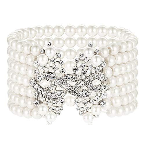 Weiß Kontakt Kostüm - Coucoland 1920s Armband Damen Perlen Blinkende Kristall Armband 20er Jahre Party Zubehör Armband Damen Gatsby Kostüm Accessoires (Weiß)