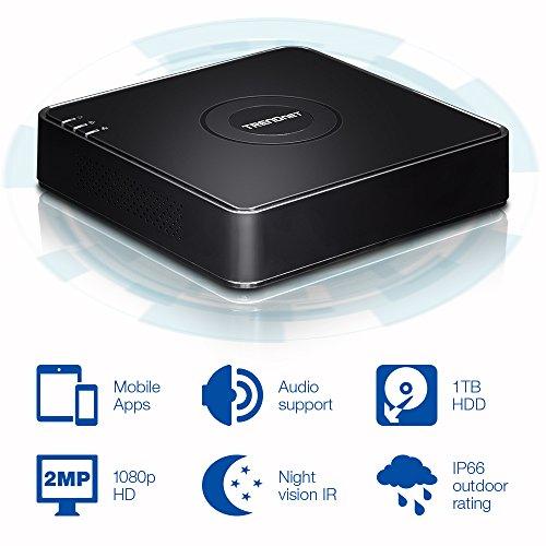 TRENDnet 4-Kanal HD CCTV DVR Überwachungskit mit werkseitig installierter 1 TB HDD und 4 x 1080p HD IR IP66 Analog CCTV Kameras, SATA I/II, IPv6, TV-DVR104K