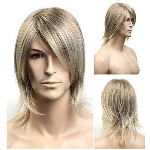 Wig Peluca Hombres Oblicua Flequillo Larga Peluca