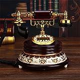 HomJo Téléphone à bouton-poussoir Vintage Antique Style Résine corps en métal Corded Telephone Home Living Room Decor , 1