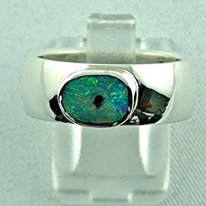 Massiver Sterling Silberring mit Top Semi Black Opal 1,09 ct Damenring / Herrenring