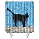 LB Schwarze Katze blaue Wand Duschvorhang,Schwerlast Wasserabweisender Mehltau Resistant 3D Polyester Fabrik Badvorhänge, 180X180cm, mit 12 Ringen